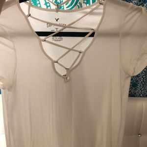 "white ""soft and sexy"" american eagle shirt"